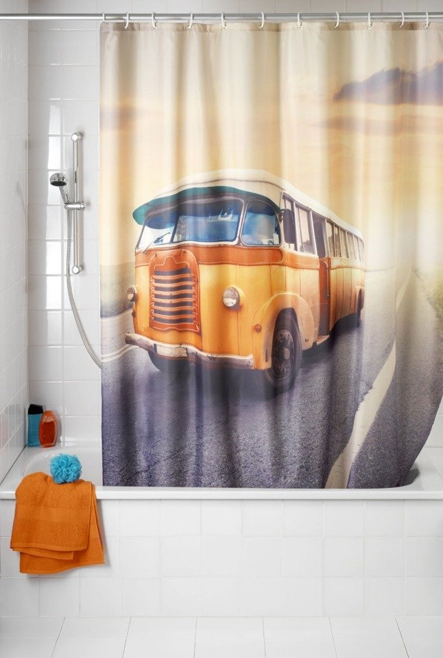 WENKO Anti-mould shower curtain Vintage Bus, washable, 180 x 200 ...